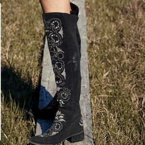 Free People black suede HIGH NOON TALL BOOT